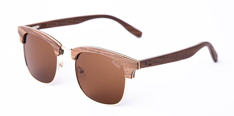 Sustainable Walnut Wooden Sunglasses Semi-Rimless Polarised Lenses Left