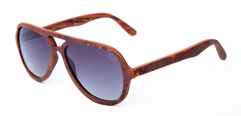 Sustainable Red Camphor Burl Wooden Sunglasses Polarised Aviators Left