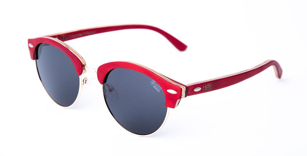Eco Friendly Red Maple Semi Rimless Polarised Wooden Sunglasses Left