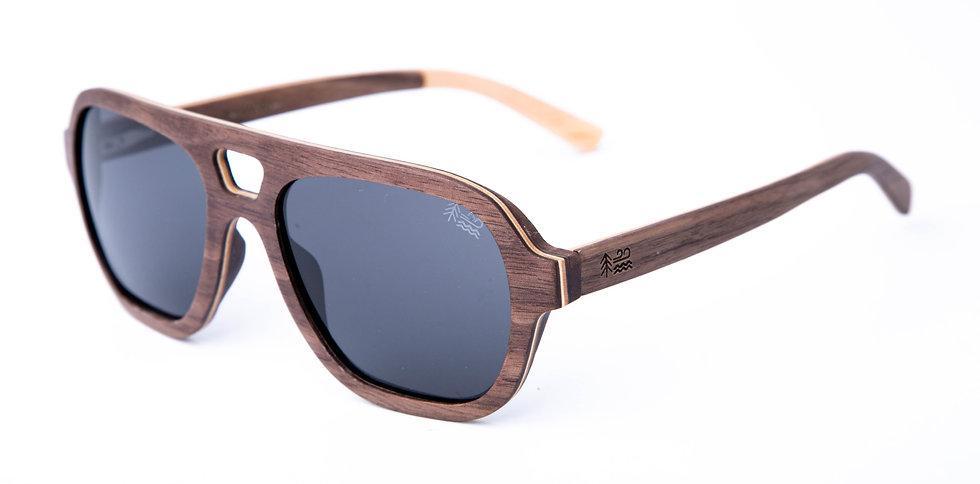 Sustainable Walnut Wooden Sunglasses Aviator Style Polarised Lenses Left