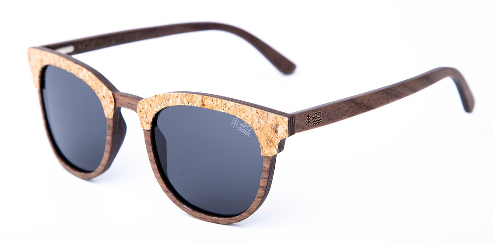Sustainable Cork & Walnut Wooden Sunglasses Polarised Lens Left