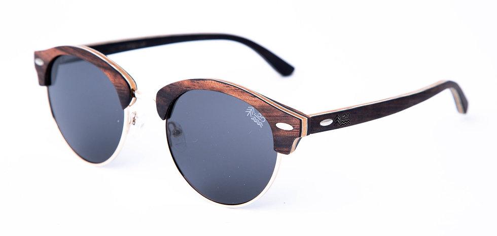 Eco Friendly Ebony Wooden Sunglasses Semi Rimless Polarised Lenses Left