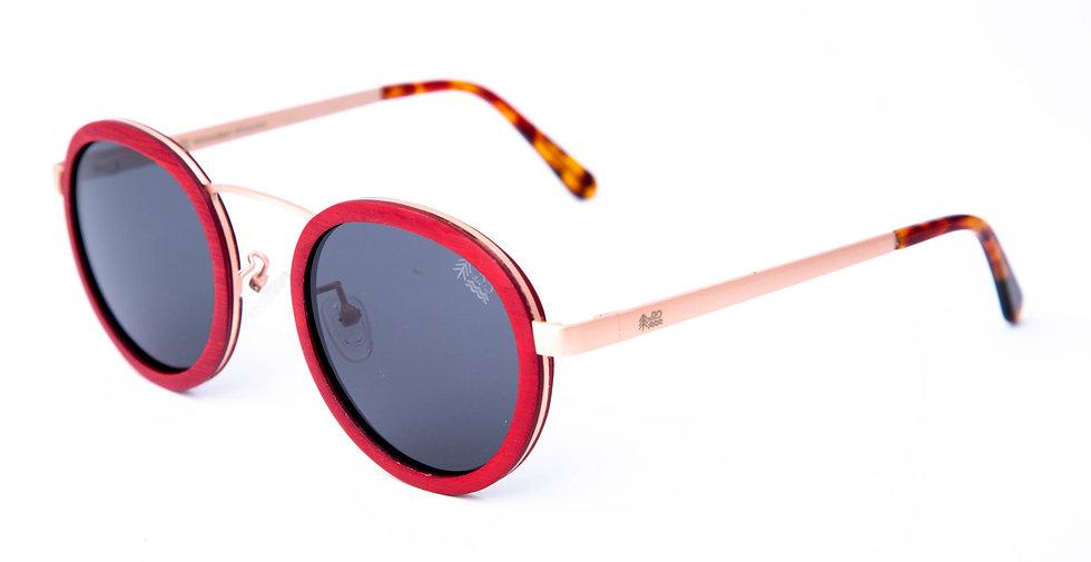Eco Friendly Red Maple Wooden Sunglasses Polarised Lenses Aviator Left