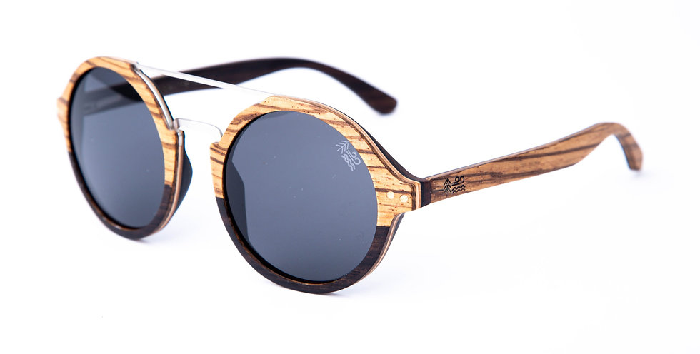 Zebra Wood & Ebony Wood Polarised Round Wooden Sunglasses Left