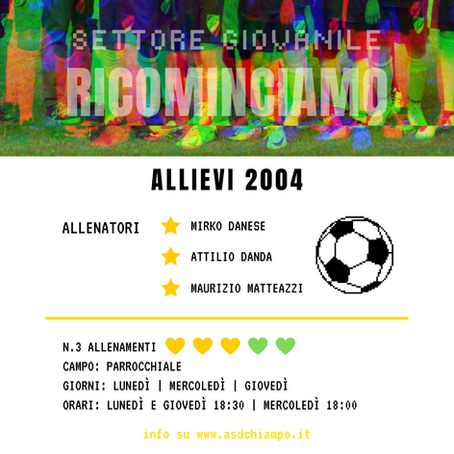 RICOMINCIAMO: Allievi 2004