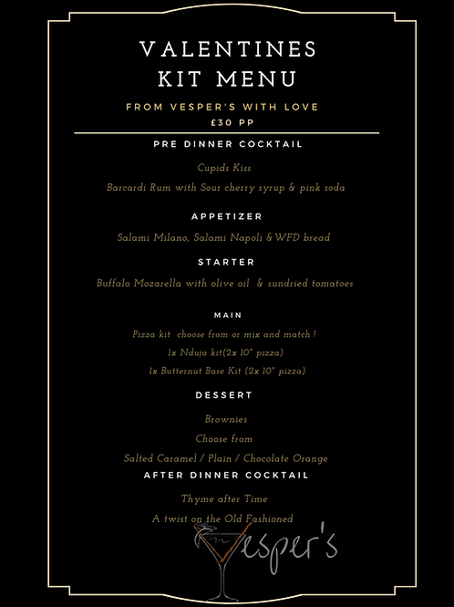 VALENTINES SET KIT MENU for two