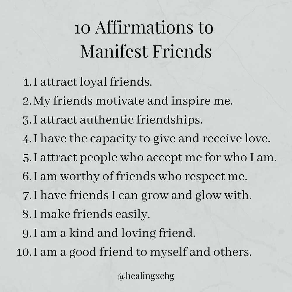 Bullet points examples of affirmations to manifest friends.
