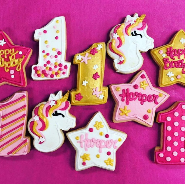 Pink & Gold Unicorn 1st Birthday Favors