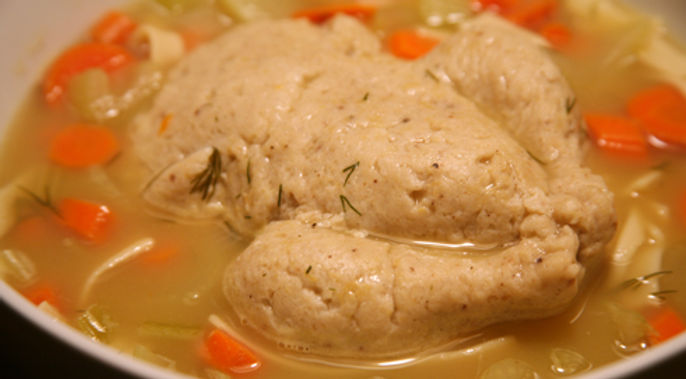 Turkey-shaped matzoh ball in soup