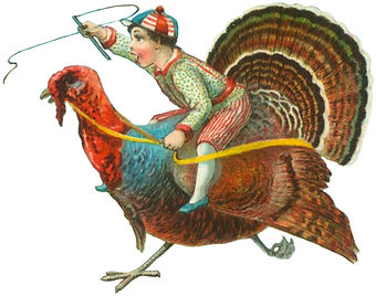 Colorful old style painting of a boy riding a turkey