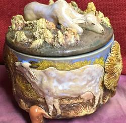 Cow and Calf Lidded Jar