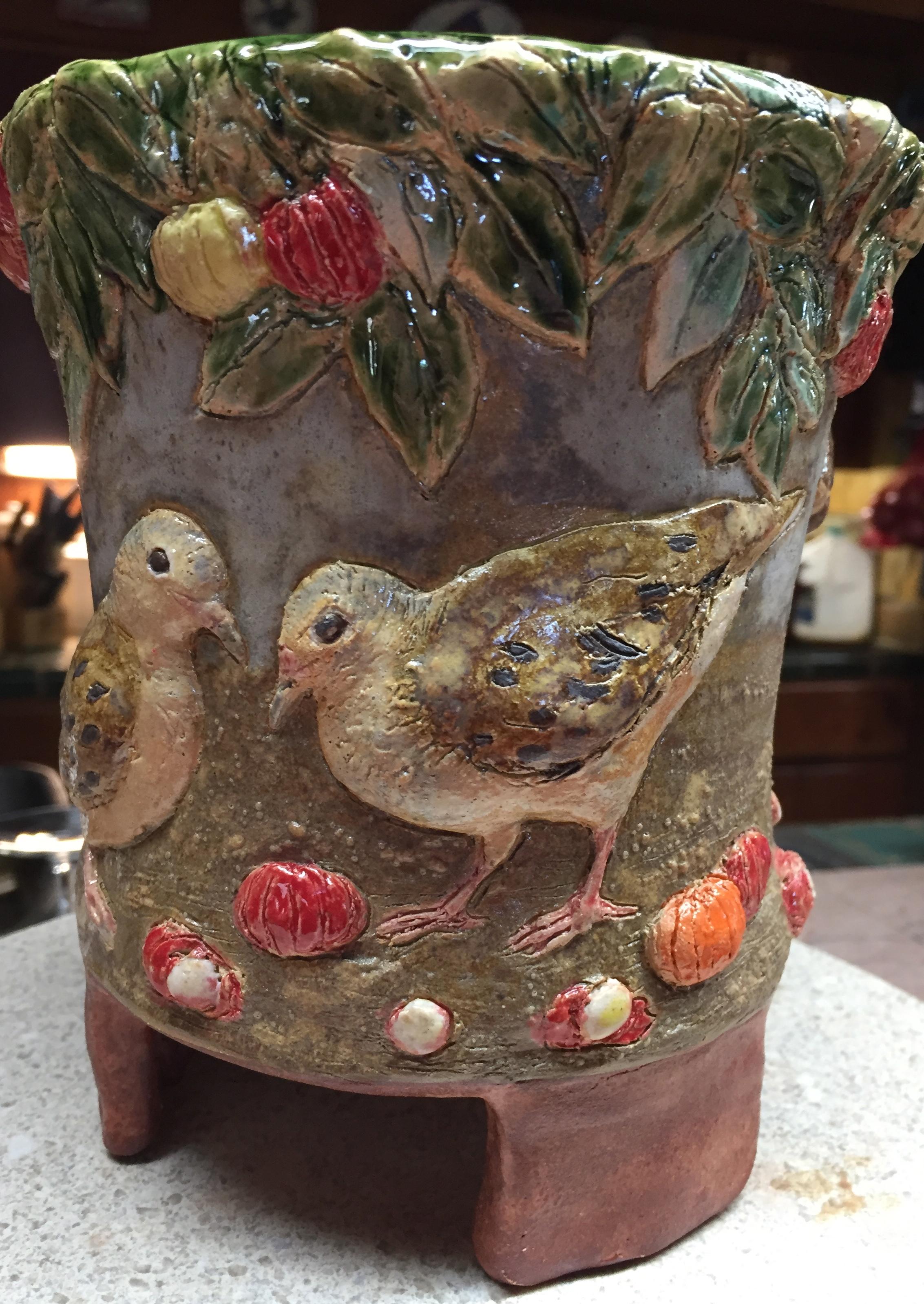 Ground Dove and Rabbit Vase