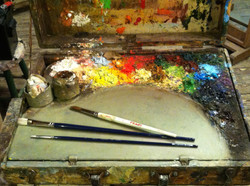 Paintbox and brushes