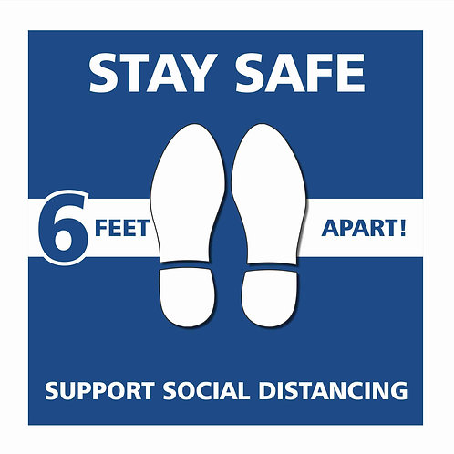 Social Distancing Sign - White /Blue