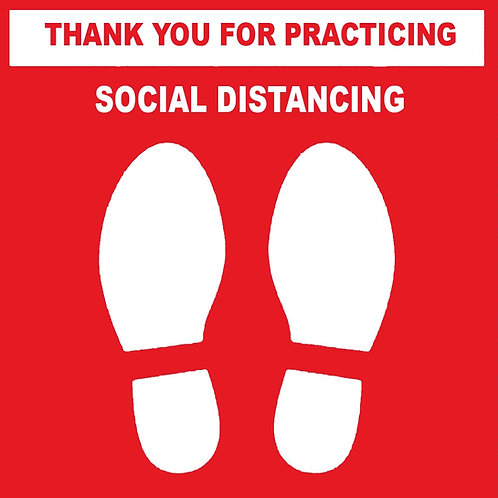 Social Distancing Sign - White /Red