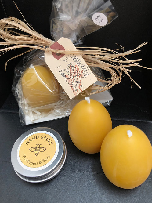 A small gift -- 2 'egg' beeswax candles + 1 hand salve