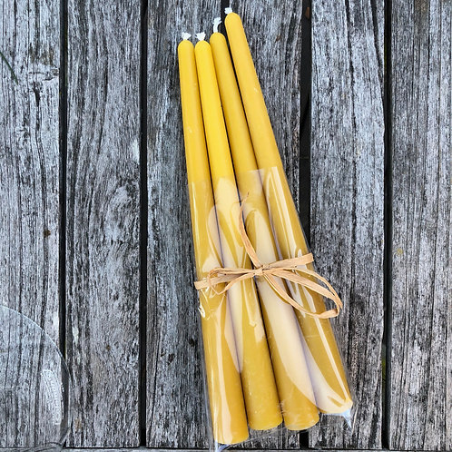"Four 10"" Pure Beeswax Tapers"