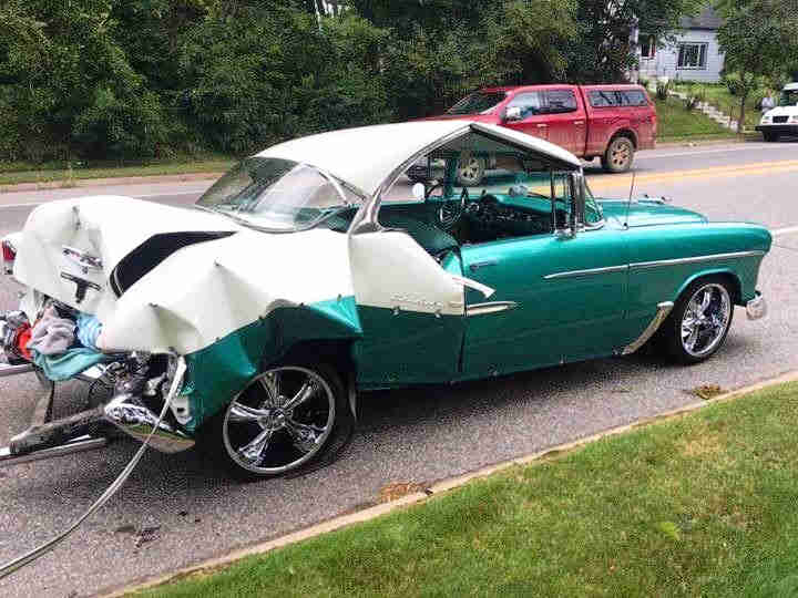 Classic car crash wreck