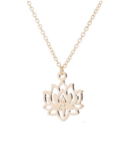 "Buddhist Necklace ☾ ""Lotus Flower"" -  Yellow Gold"