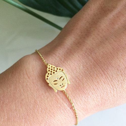 """Bracelet ☾ """"Happy Bouddha"""" - Doré"""