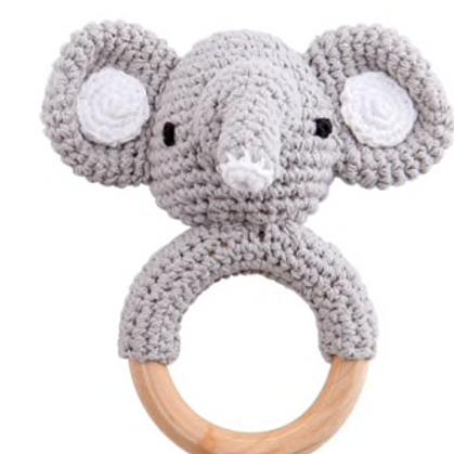 """Jouet Crochet """"Eléphant"""" en Bois Naturel Non Traité"""