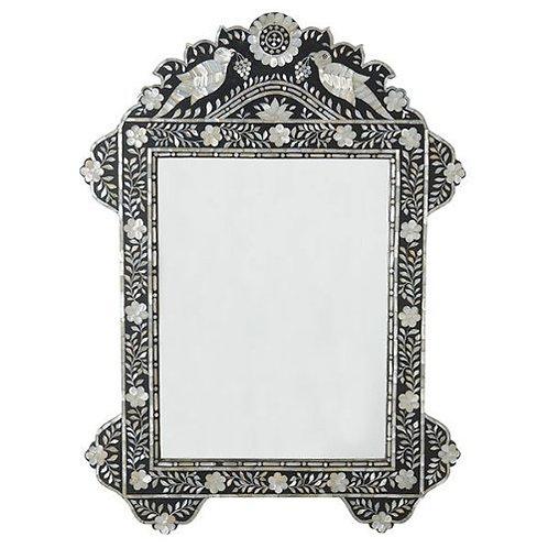 Miroir à Incrustation de Nacre OISEAUX DU PARADIS