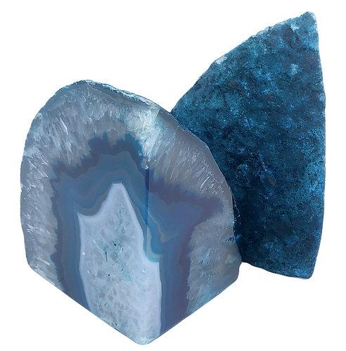 Serre-Livres en Pierre Naturelle ☾ Agate Bleue