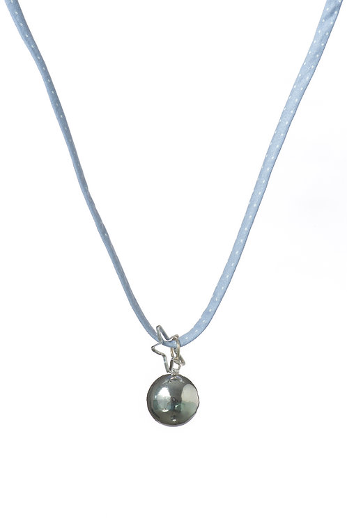 Pregnancy Chime Necklace PRETTY LIBERTY - Polka Dots Baby Blue