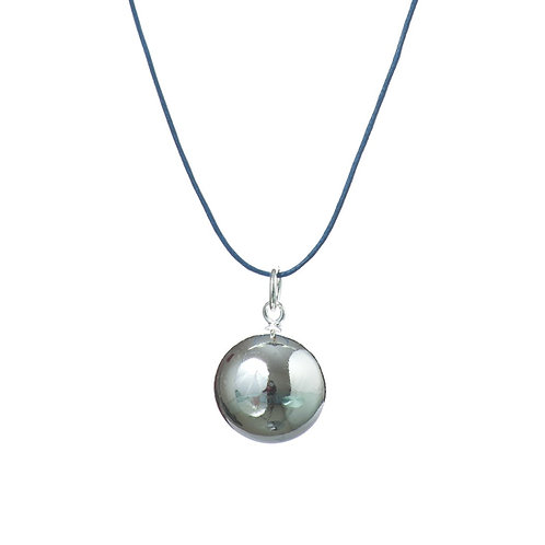 Pregnancy Baby Chime Necklace - Navy Blue Leather