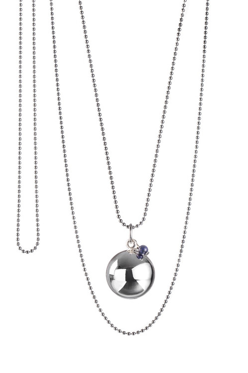 Baby pearl angel caller pregnancy necklace lapis lazuli the good worn as a long necklace during pregnancy this baby chime pendant creates a soft and harmonious chime when rolling on the belly of expectant mothers which aloadofball Choice Image