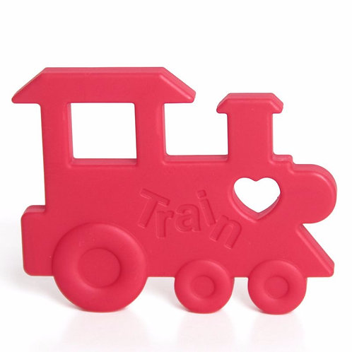 """Silicone Baby Teether """"Chew Chew The Train"""" - Red"""