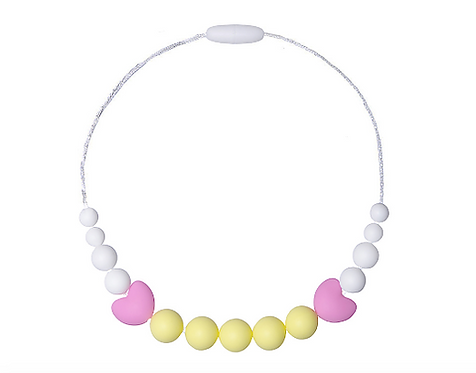 "Chewable Silicone Children Necklace ""Little Diva"" Yellow"