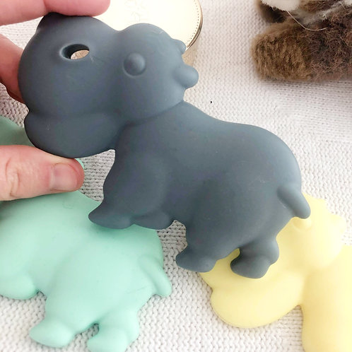 """Non Toxic Baby Teether """"Little Hippo"""" - Grey"""