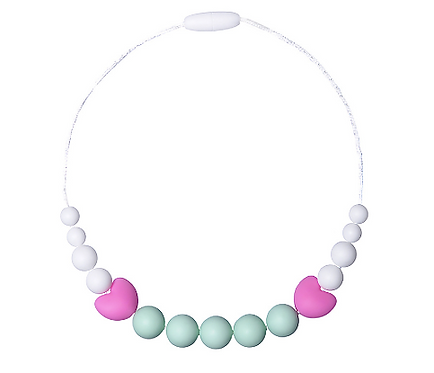 "Chewable Silicone Children Necklace ""Little Diva"" - Mint"