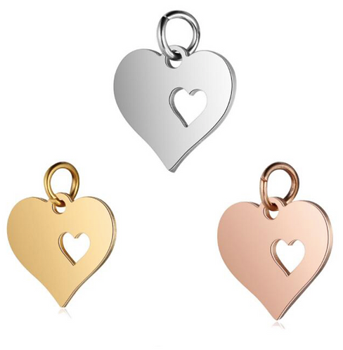 Personalised Heart Charm with Initial Engraving