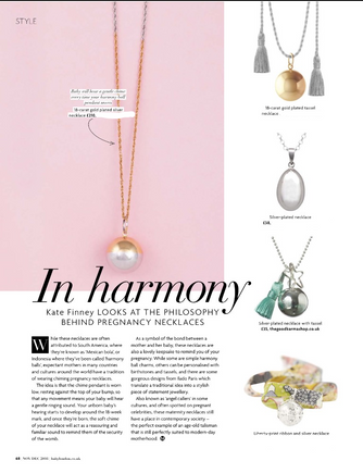 Baby London Magazine featuring The Good Karma Shop's Pregnancy Necklaces