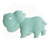 """Non Toxic Baby Teether """"Little Hippo"""" - Mint"""
