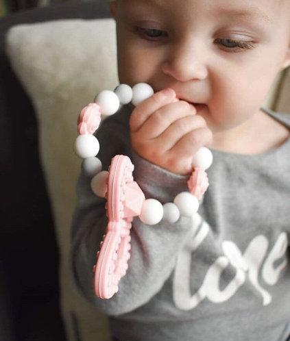 Anneau de Dentition Non-Toxique PAPILLON - Rose