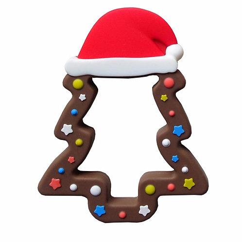 "Anneau de Dentition en Silicone ""Sapin de Noël"" - Chocolat"