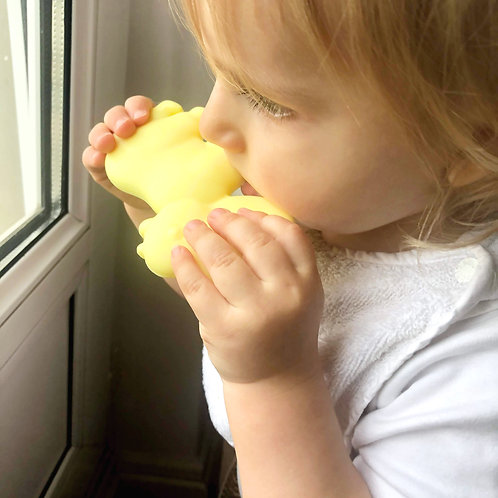 """Non Toxic Baby Teether """"Little Hippo"""" - Yellow"""