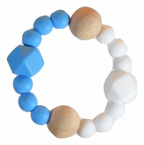 Sonaglio in Silicone e Legno Naturale NANA - Blu