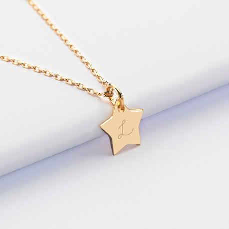 Personalised Star Charm with Baby Initial Engraving