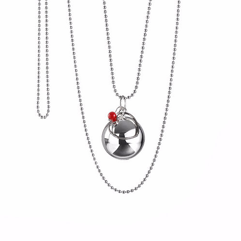 Pregnancy Chime Necklace MAMA LOVE - Red Coral