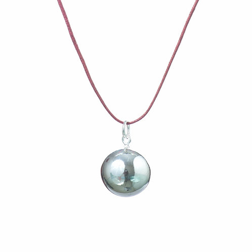 Baby Chime Pregnancy Necklace - Burgundy Leather