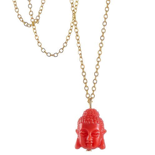 """Collier de Yoga ☾ """"My Little Bouddha"""" - Rouge"""