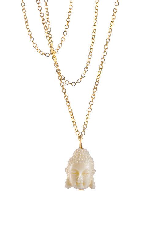 Gold Buddha Necklace - White