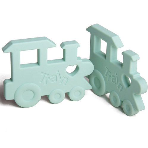 """Silicone Baby Teether """"Chew Chew The Train"""" - Mint"""