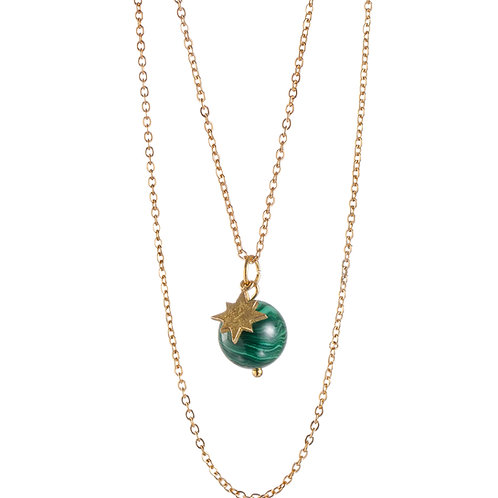 "Collier ☾ ""Wild Moon"" - Malachite Naturelle"