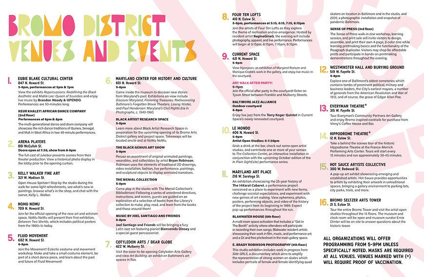 Bromo Art Walk Venues and Events September 23