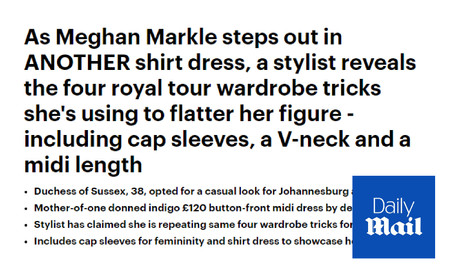 Meghan Markle's Casual Style for Johannesburg - Daily Mail Commentary